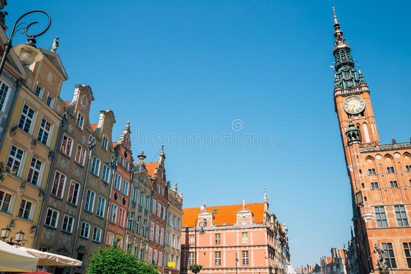 Colorful buildings and Town Hall at Long Market street in Gdansk, Poland royalty free stock photo