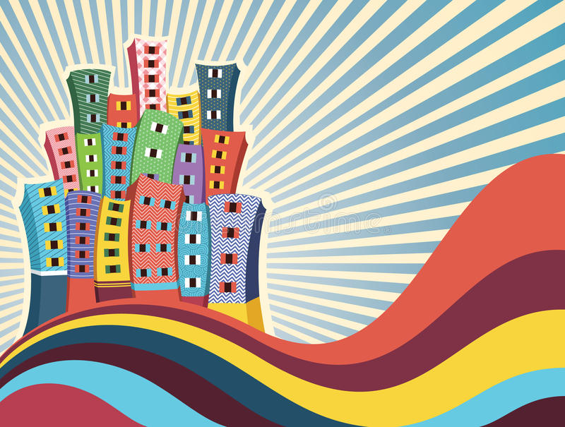 Colorful Buildings Vector Illustration Stock Photography