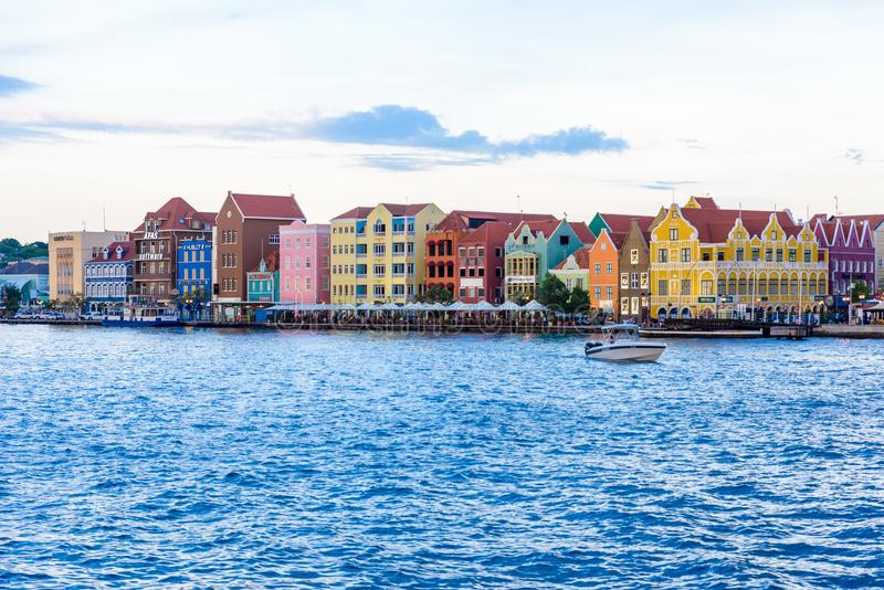 Colorful Buildings in Willemstad downtown, Curacao, Netherlands Antilles,  a small Caribbean island - travel destination for stock photo