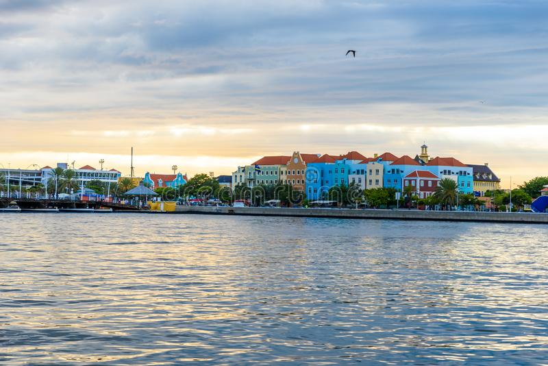 Colorful Buildings in Willemstad downtown, Curacao, Netherlands Antilles,  a small Caribbean island - travel destination for. Cruise ships or vacation royalty free stock photos