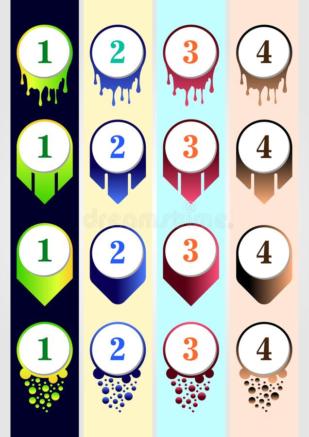 Colorful Bullet Collection Template for content business infographic content royalty free illustration