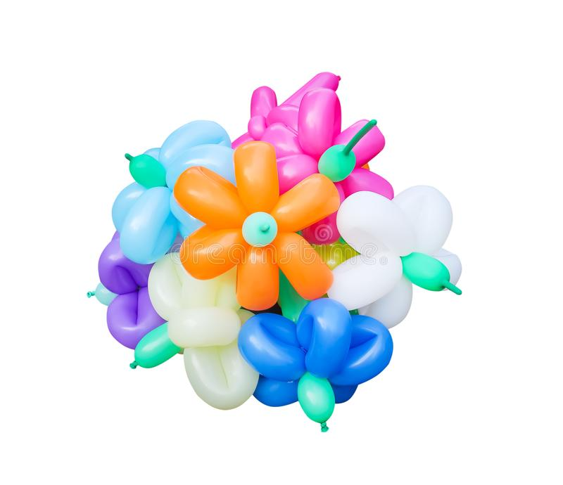 Colorful bunch of multicolored balloons in flower patterns isolated on white background with clipping path. Close up Colorful bunch of multicolored balloons in stock photography