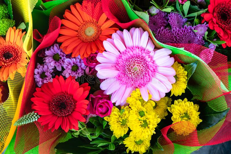 Colorful Bunch of Various Kind of Flowers seen from above. Beautiful Bouquet for a Romantic Love Gift stock photography