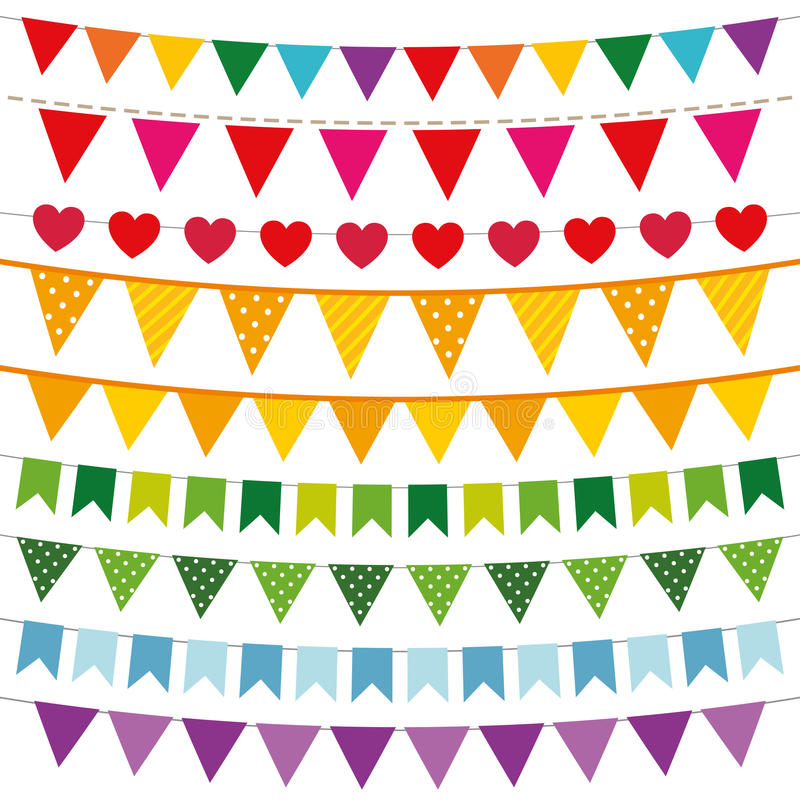 Colorful bunting flags set. Colorful vector bunting flags set, isolated vector illustration