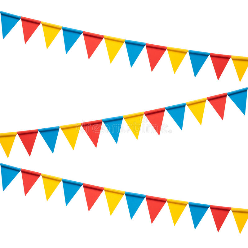 Colorful bunting party flags isolated on white background. Colorful paper bunting party flags isolated on white background stock image