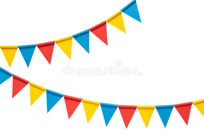 Colorful bunting party flags isolated on white background. Colorful paper bunting party flags isolated on white background royalty free stock photo
