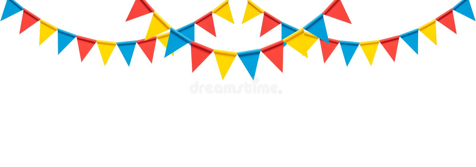 Colorful bunting party flags on white background. Colorful paper bunting party flags on white background vector illustration