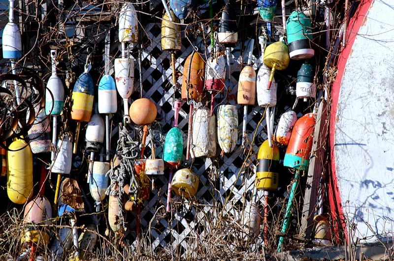Colorful buoys on display royalty free stock photography