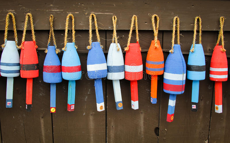 Colorful buoys stock images
