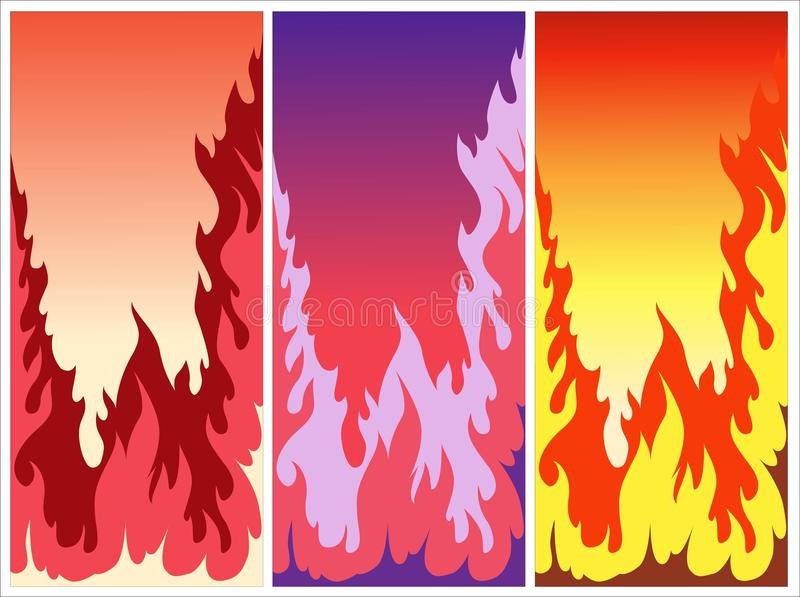 Colorful burning fires. Illustrated set of thee colorful burning fires royalty free illustration