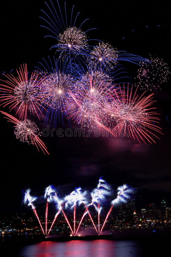 Colorful Burst of Fireworks stock photo