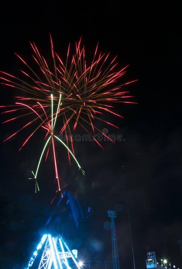 Fireworks burst on a black sky stock photo
