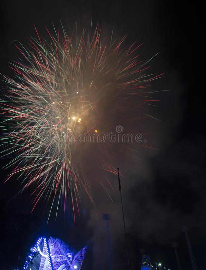 Fireworks burst on a black sky royalty free stock images