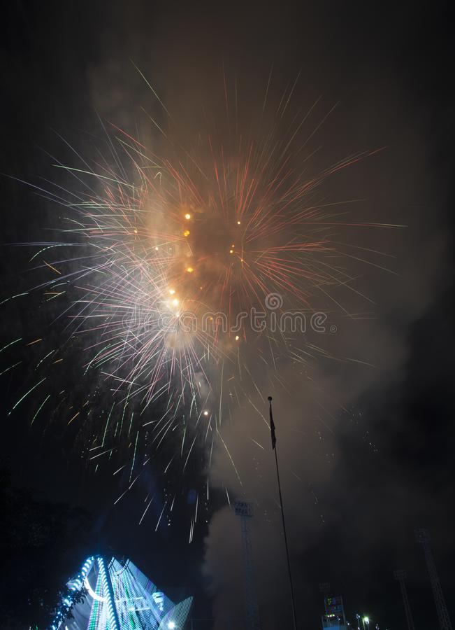 Fireworks burst on a black sky stock photos