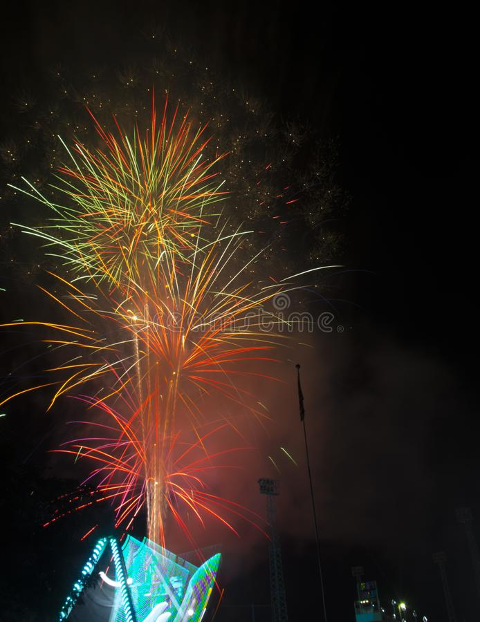 Fireworks burst on a black sky royalty free stock photos