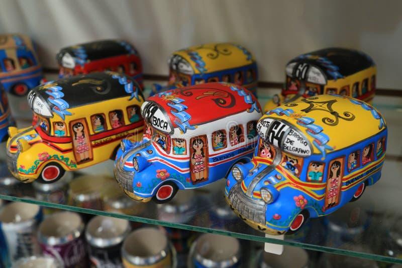 Colorful bus model in La Boca, Argentina. Buenos Aires, Argentina – March, 23 2014 : Colorful bus model in La Boca neighborhood, Argentina royalty free stock photos
