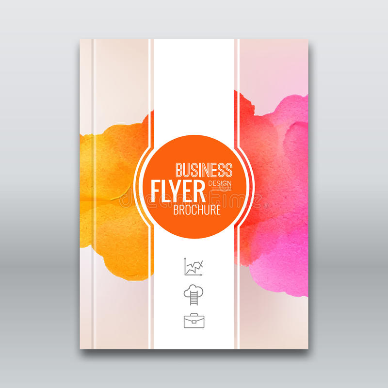 Colorful Business background watercolor stain design. Cover Brochure Magazine flyer report modern unusual template. Layout mockup infographic. Vector royalty free illustration