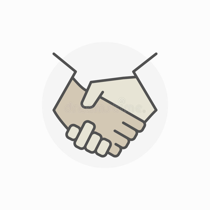 Colorful business handshake icon. Vector shaking hands sign or teamwork concept symbol royalty free illustration