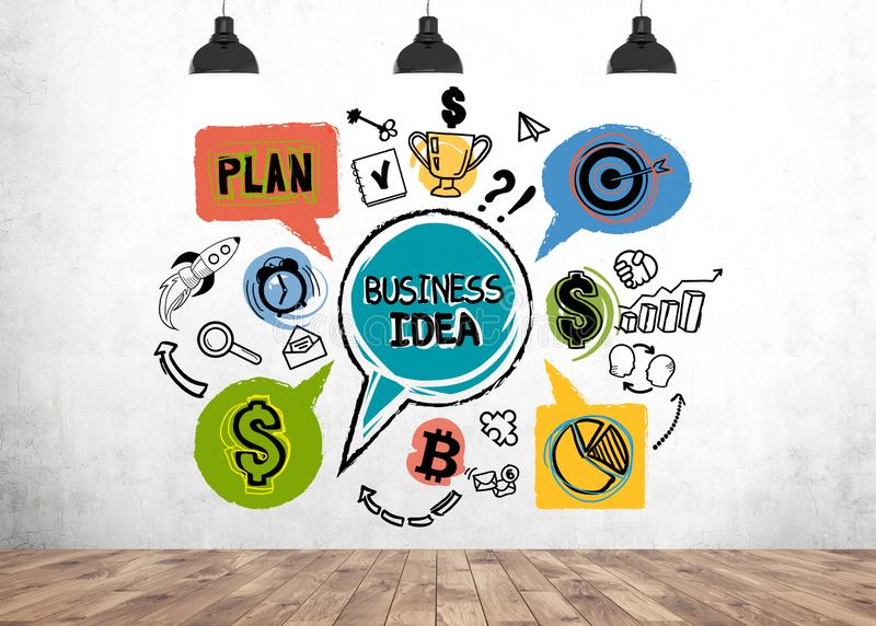 Colorful business idea sketch, room. Colorful business idea sketch drawn on concrete wall in room with wooden floor. Concept of starting your own business and stock images