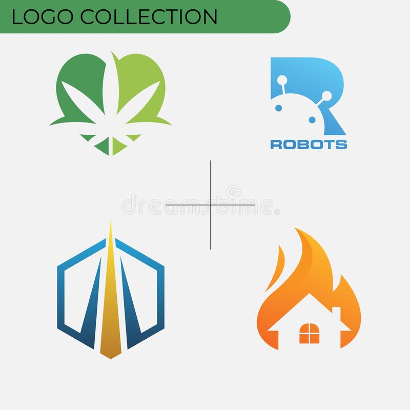 Colorful business logo collection stock illustration