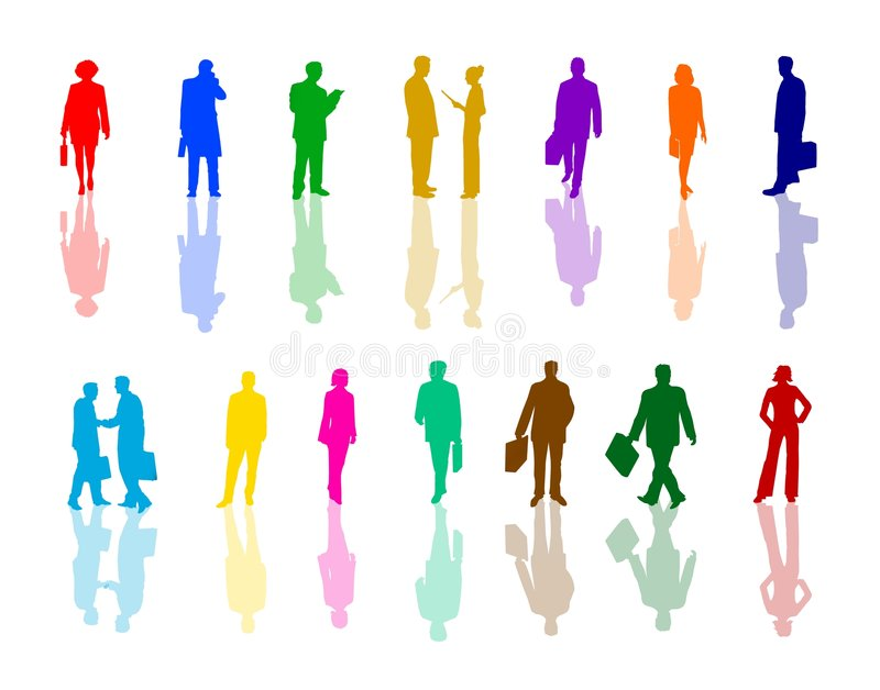 Colorful business people stock illustration
