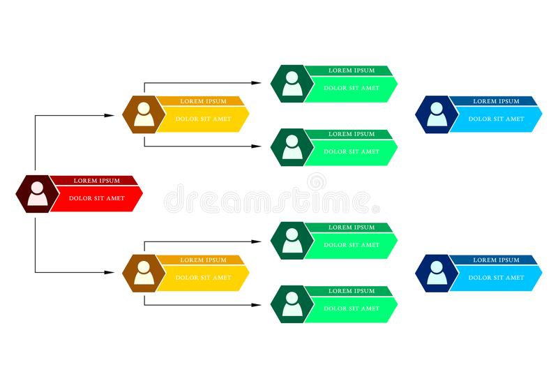 Colorful business structure concept, corporate organization chart scheme. With people icons. Vector illustration stock illustration