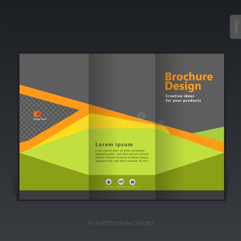 Colorful business tri-fold brochure template, cover design, flyer stock illustration
