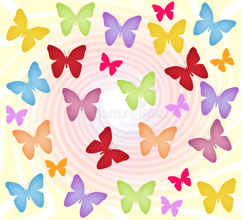 Colorful butterflies. Abstract background with spiral and colorful butterflies stock illustration