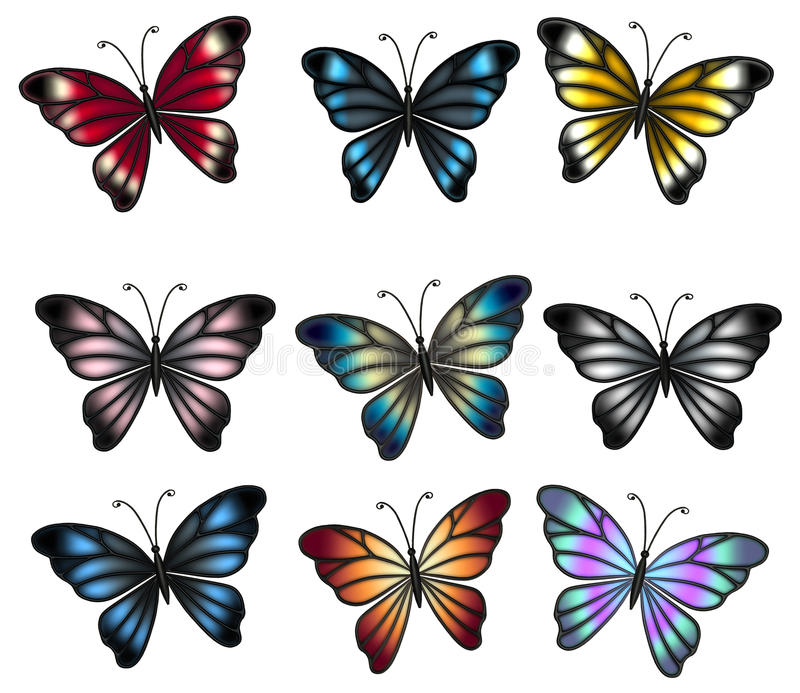 Colorful butterflies stock illustration