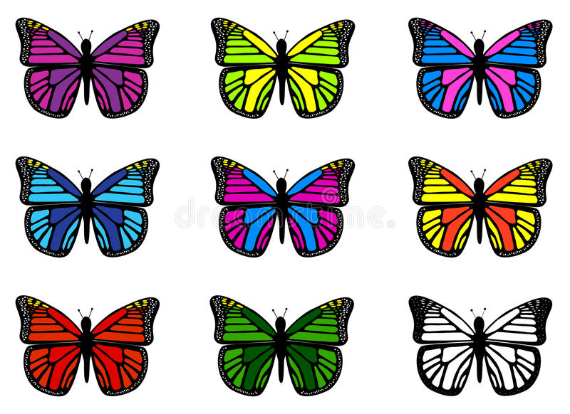 Colorful butterflies stock vector. Illustration of vector - 25339823