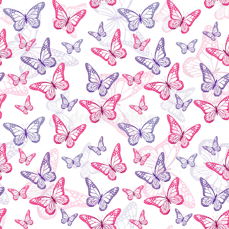 Colorful Butterflies Seamless Pattern. Vector Illustration stock illustration