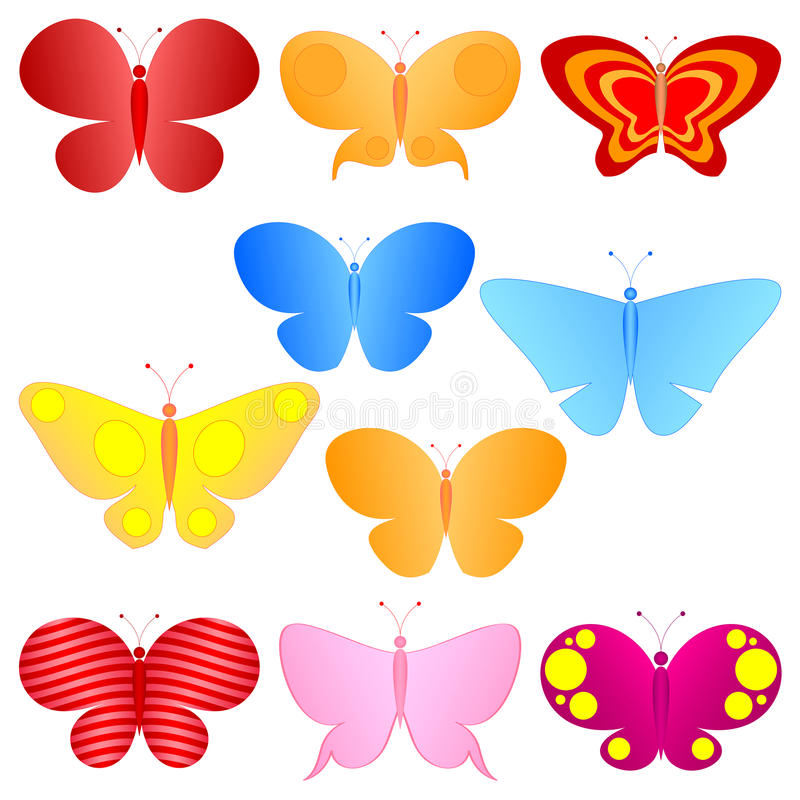Colorful butterflies set. Simple cartoon colorful butterflies set royalty free illustration