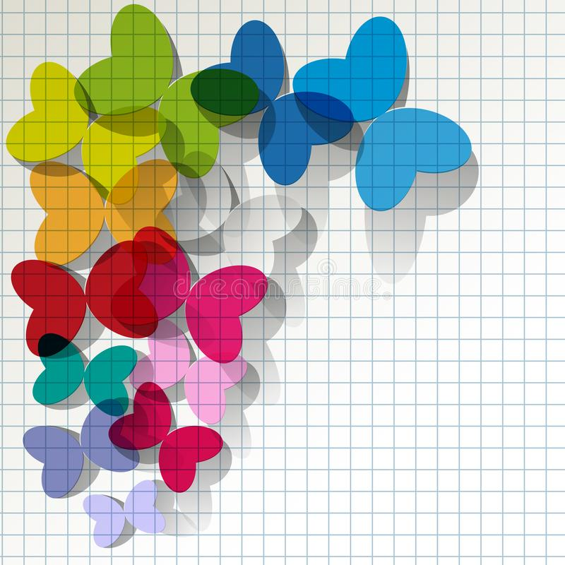 Colorful butterflies transparent stained glass on checkered pattern background. vector illustration