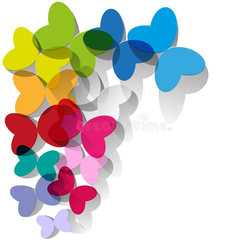 Colorful butterflies transparent stained glass on a white background. royalty free illustration