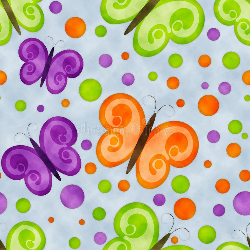 Colorful butterflies watercolor seamless background stock photos