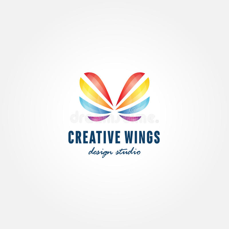 Colorful Butterfly Creative Trendy Symbol, Logo Template