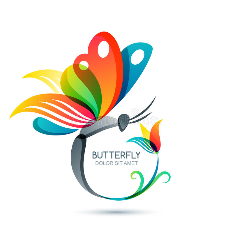 Colorful butterfly and flower, vector illustration. Round floral frame with butterfly. Logo design elements. Concept for beauty salon, fashion, spa, cosmetics stock illustration