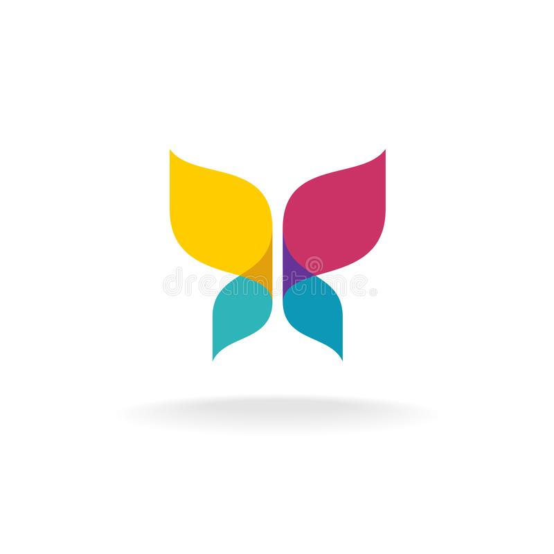 Colorful butterfly logo. Overlay transparent sheets style. Freedom and purity sign vector illustration