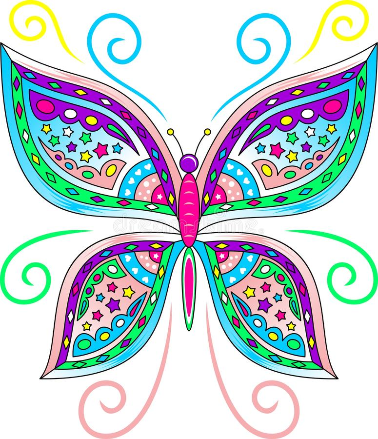 Colorful Butterfly Vector. An Illustration of a Colorful Butterfly in Vector Format stock illustration