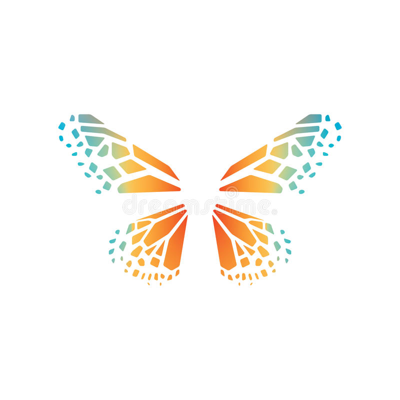 Colorful butterfly wings vector emblem. Colored elegant butterfly wings logo stock illustration