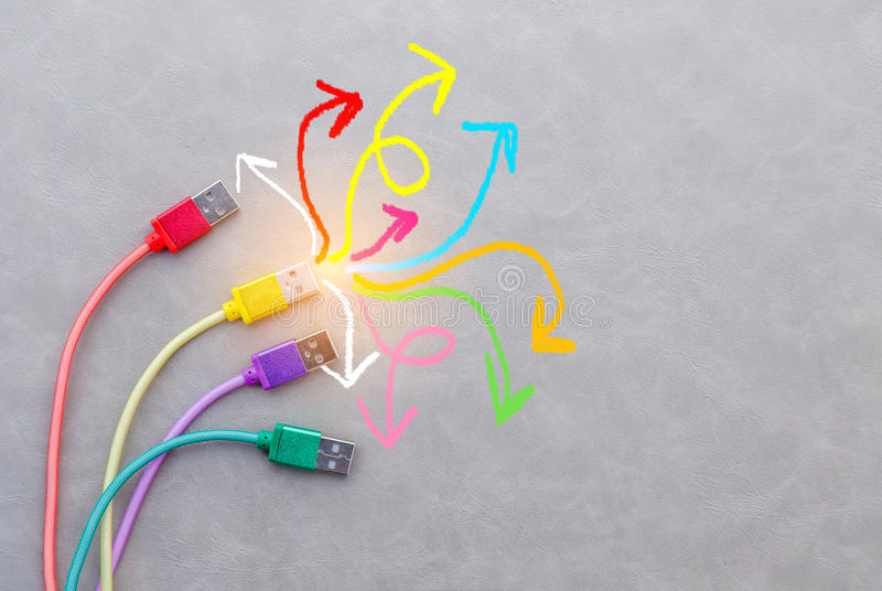 Colorful cable and drawing creative line on grey background. royalty free stock photos