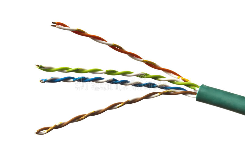 Colorful cable isolated on white stock image