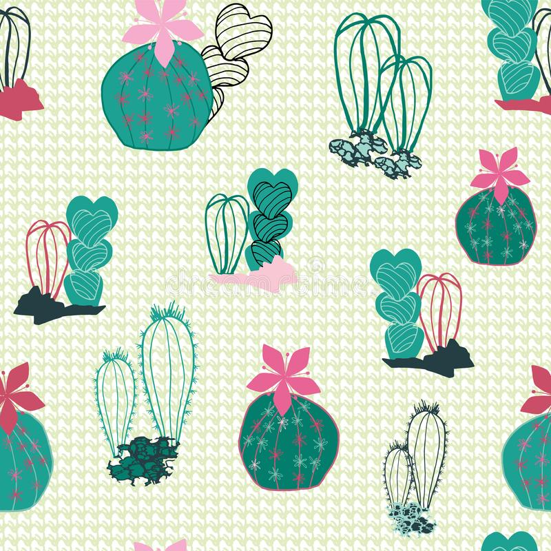 Colorful cacti in the desert cartoon style in a mixed line art and filled shapes on a textured canvas-like background. Vector vector illustration