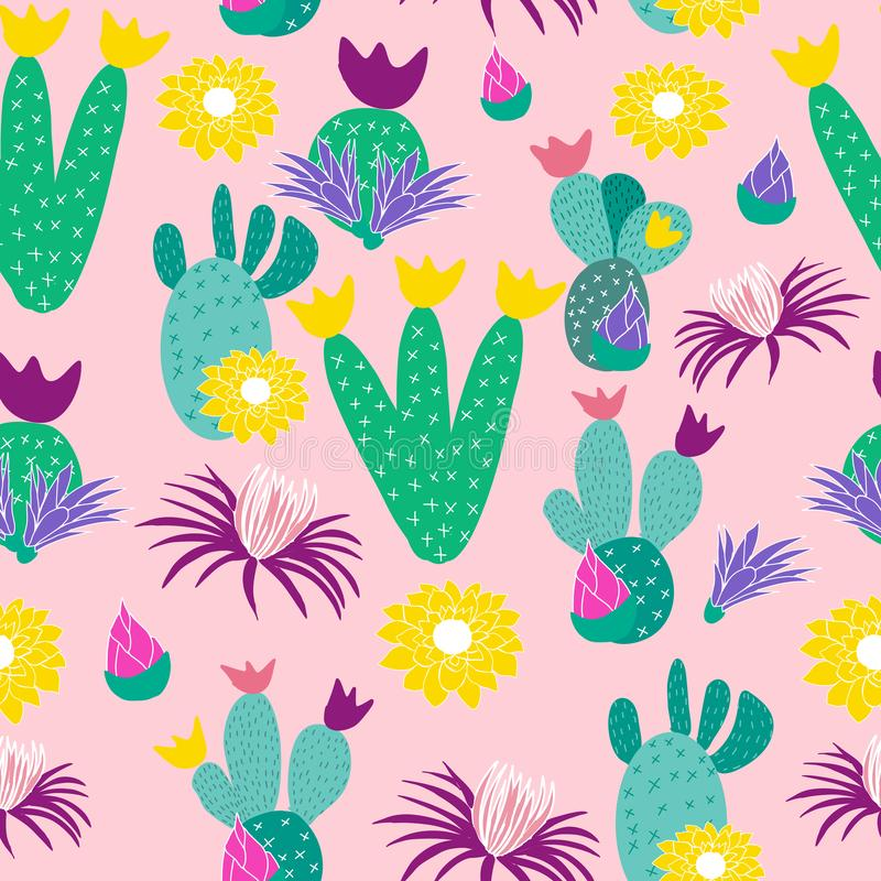 Colorful cactus on a pink background, in a seamless pattern vector illustration