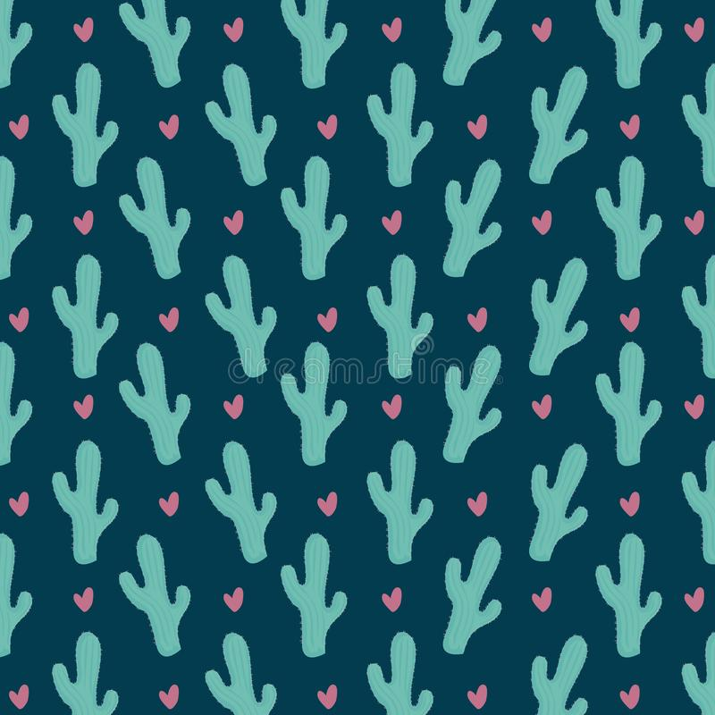 Colorful cactus seamless pattern stock illustration