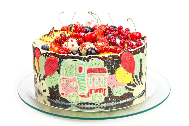 Colorful cake for kids party royalty free stock photography