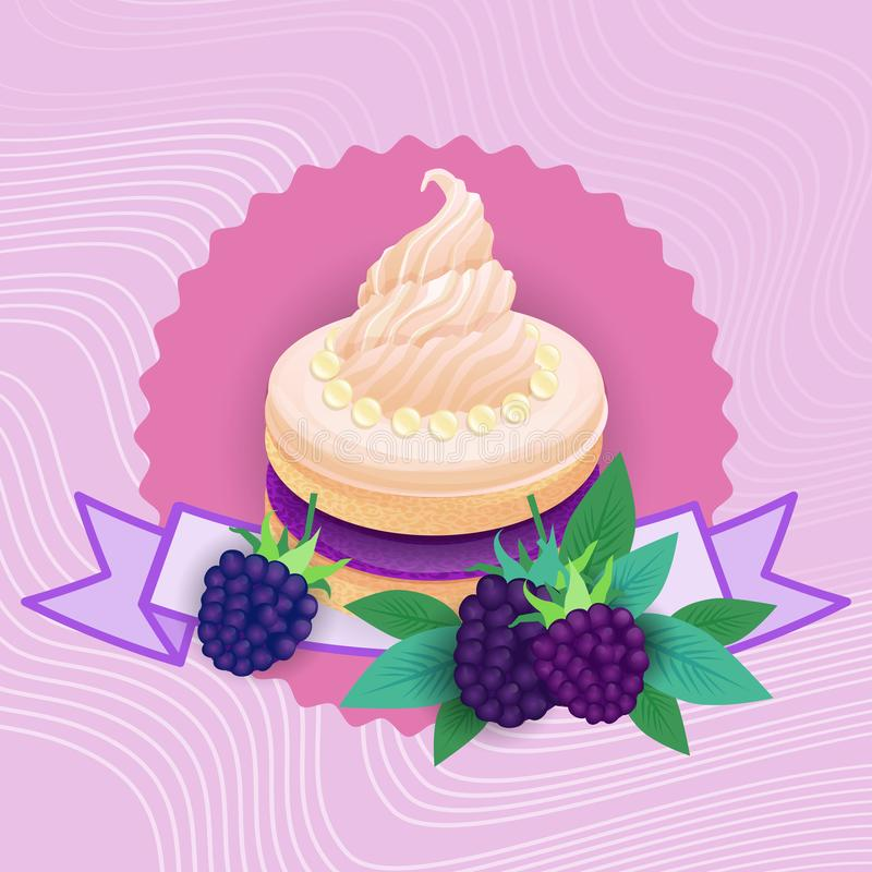 Colorful Cake Sweet Beautiful Dessert Delicious Food vector illustration