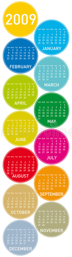 Colorful Calendar for 2009 stock illustration