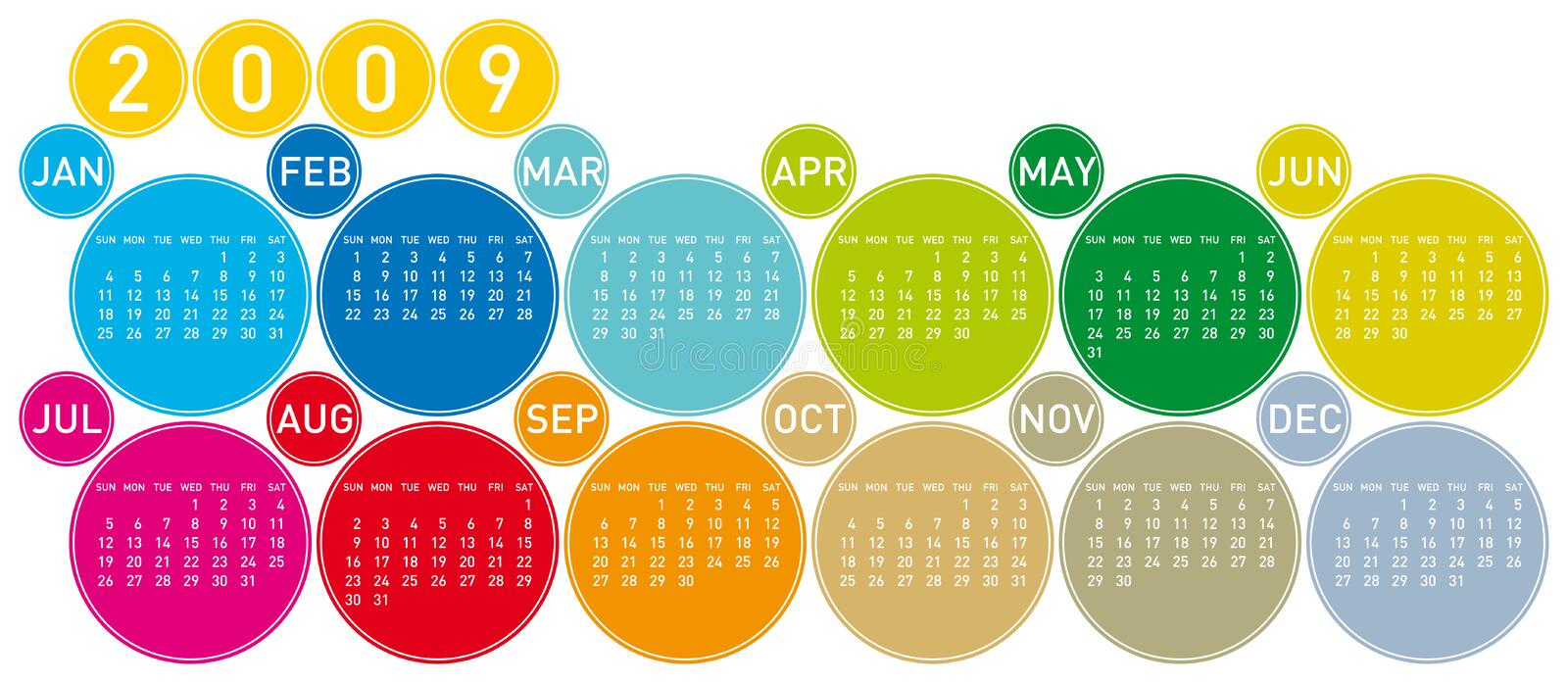 Colorful Calendar for 2009 royalty free stock images
