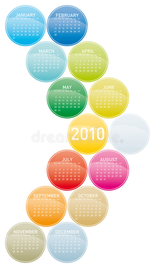 Colorful Calendar for 2010. vector illustration
